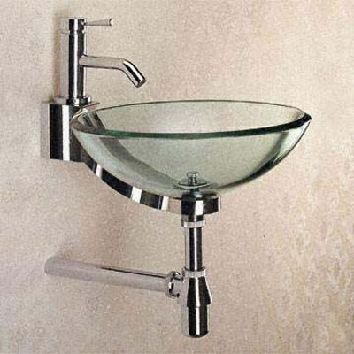 bathoom bowl glass sink with chrome trim for small ...