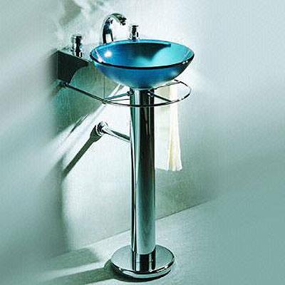 Stileto Modern Bathroom Sink Blue Glass Bowl and Chrome