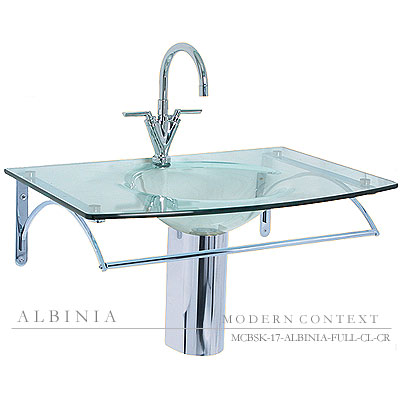 Albinia Full Glass Basin Sink in Frosted White