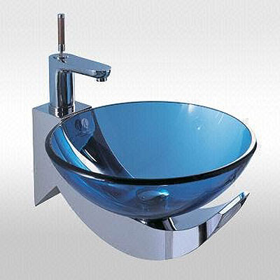 Ocean Blue Modern Bathroom Bowl Sink Glass and Chrome