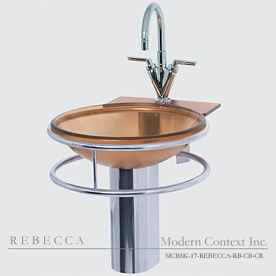 Rebecca round glass bowl sink for small bathroom
