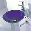 Glass Basin Sink Blue Bowl Only